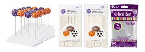 Styrofoam Cake Pop Holder & Lolli Pop Sticks & Clear Treat Bags for Making Cake Pops - 200 Sticks, 200 Treat Bags and Treat Pops Display Set Bundle