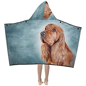 Little Throw Blanket Drawing Dog English Cocker Spaniel Portrait Kids Hooded Blanket Bath Towels Throw Wrap for Toddler Child Girl Boy Home Travel Sleep Kid Bed Blanket 1
