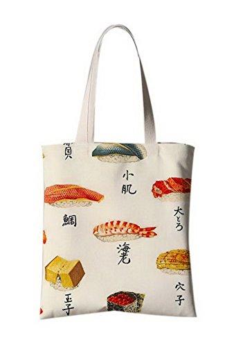 Japanische Art-Blumen-Illustrator Leinentasche Reise-Einkaufstasche Verschiedene Fische
