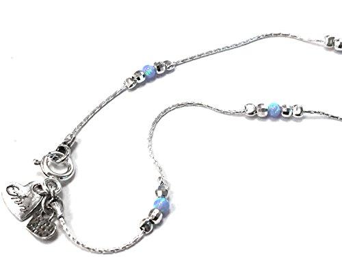 """Aviv-1 mm d'épaisseur en argent massif 925 Cheville serti de pierres d'opale rondes et perles d'argent boules = 9 """"pouce de long = 23 cm"""