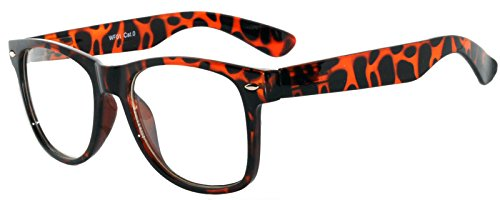 Vintage Clear Lens Sunglasses 80's Style Frame Uv Protection - Glasses Nerd Leopard Print