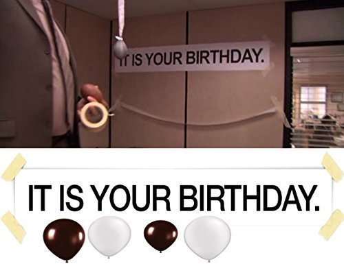 Price comparison product image IT IS YOUR BIRTHDAY. Banner From The Office! With BROWN AND GREY BALLOONS! By Dart's Goods