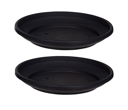 2 x Black Plastic Plant Pot Saucer 32cm Saucer Whitefurze