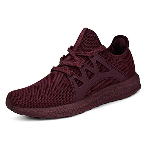 MARSVOVO Womens Ultra Sneakers Lightweight Breathable Mesh Sport Athletic Walking Tennis Shoes Agate Red Size 8