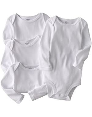 Carters Unisex Newborn-24 Months White 4-Pack Long Sleeve Bodysuits