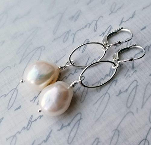 Long Baroque Off White Freshwater Pearl Earrings with Sterling Oval Loops