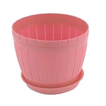 DealMux plástico Início Windowsill Escritório Barril Flora Forma Flower Pot Planter w Rosa Bandeja