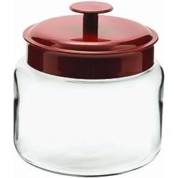 Anchor Hocking Montana Glass Jars with Airtight Lids, Red Metal, 48 oz (Set of 4) - 1-1/2 Quarts (1.5 quarts)