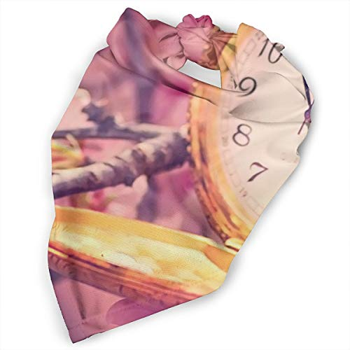 Pet Scarf Dog Bandana Bibs Triangle Head Scarfs Cherry Blossom Clock Accessories for Cats Baby Puppy