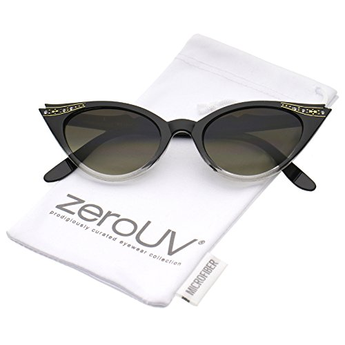 Vintage Inspired Mod Womens Fashion Rhinestone Cat Eye Sunglasses (Black-Fade)