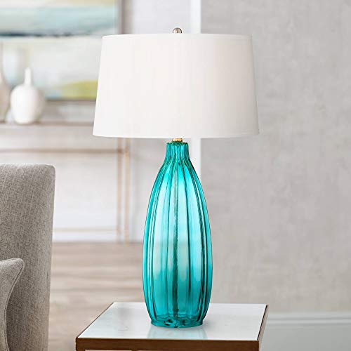 - Stella Modern Table Lamp Clear Blue Fluted Glass White Drum Shade for Living Room Family Bedroom Bedside Nightstand - 360 Lighting