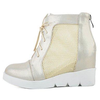 cremallera verano mujer plano botas zapatos de Flat Gold casual Gold moda Club tul Botas de Black tacón xF8XpSqwRn