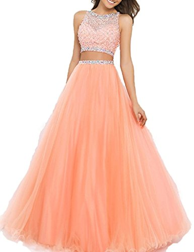 Fanmu Women's Beaded Two piece A line Tulle Prom Dresses Evening Gown Coral US 8