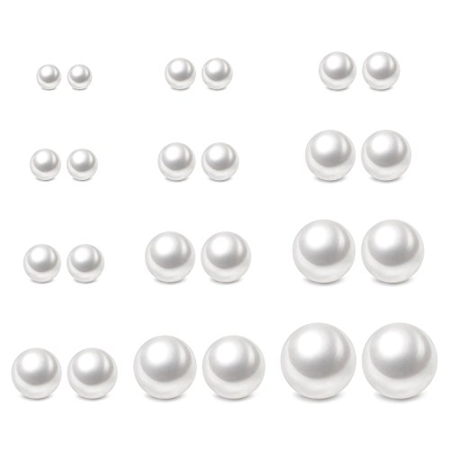 Womens Imitation Pearl - Charisma 4-12mm Composite Pearl Earrings Round Ball Pearls Stud Earrings Hypoallergenic 5 Pairs Mixed Sizes Imitation Pearl Earrings Set for Girls Women