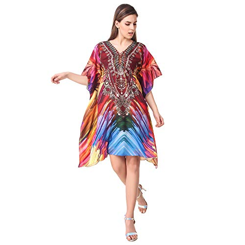 Rajoria Instyle Digital Print Beach Wear Kaftan and Cover-up/top/Dress/Multicolored/highlow