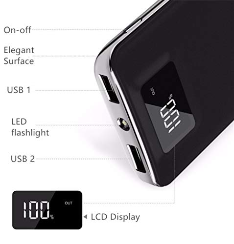 Tundras Power Bank Portable 20,000mAh High Speed Digital Ultra High Capacity Fast Charg 3.4A 2-Port USB +Led Flashlight External Battery Backup, for All Cell/Smart Phone Tablet Laptop iPhone Galaxy &