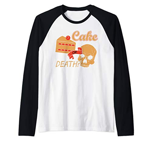 Funny Cake Shirts - LOL Cake Or Death Raglan Baseball Tee