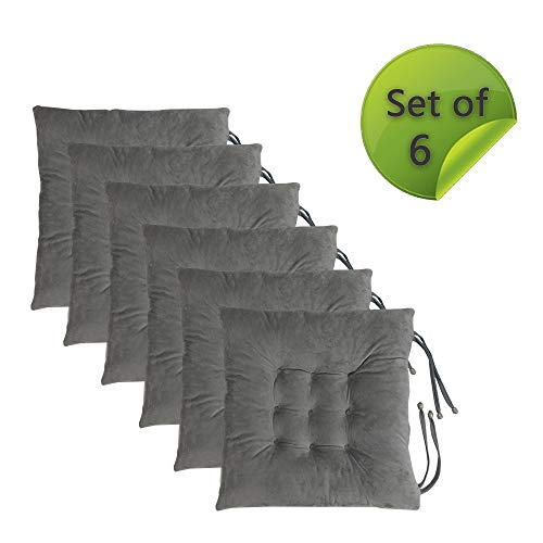 Comfy Soft Non Slip Chair Pads Seat Cushions Cover with Ties for Dining Chairs, Office Chairs, Sofa Patio Furniture Carpeted Floors, Hardwood Floors, 100% Polyester Cover Chair Cushions (6, Dark Grey)