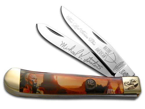 Hen and Rooster Painted Pony Native American Desert Scene Trapper Pocket Knife