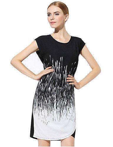 PU&PU Robe Aux femmes Ample Simple,Imprimé Col Arrondi Au dessus du genou Polyester , black-2xl , black-2xl
