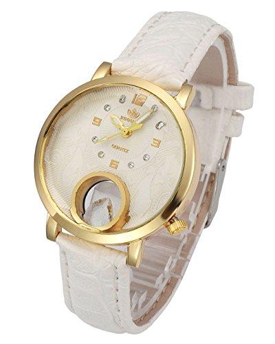 Top Plaza Womens Ladies Leather Wrist Watch Fashion Unique Gold Case Rhinestone Arabic Numeral Analog Quartz Dress Watch - White