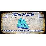 Flag Map of Nova Scotia Metal License Plate Vanity Car Tags 6 X 12