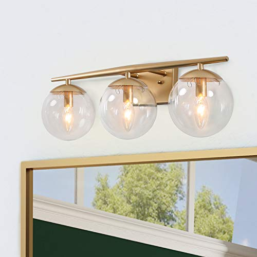KSANA Gold Bathroom Light Fixtures, Modern Bathroom Lights Over Mirror, 3 Light -