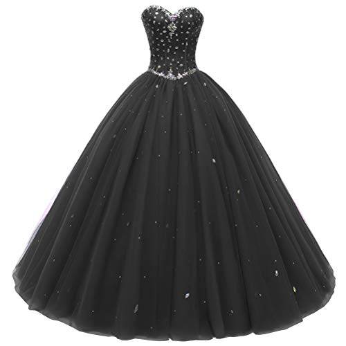 Beautyprom Women's Sweetheart Ball Gown Tulle Quinceanera Dresses Prom Dress (US16, Black)
