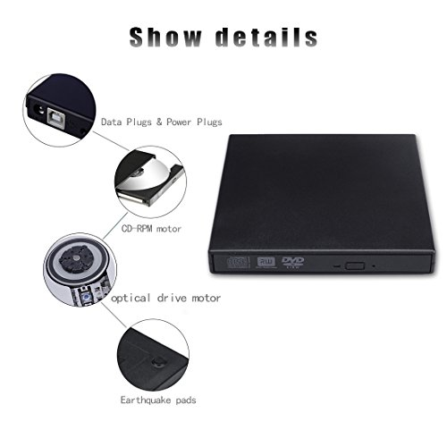 External CD DVD Drive, Sunreal External Optical Drive USB 2.0 DVD/CD Player Portable Slim High Speed Data Transfer DVD Drive for PC Computer Laptop Desktops with Windows Mac OS(Black) by Sunreal (Image #2)