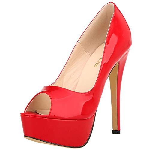 Gatito Tacones Moda 14cm Red Mujeres L Altos Toe Del Modernas Pu Bombas Tacón yc Nupcial Peep q8nSwnUPE