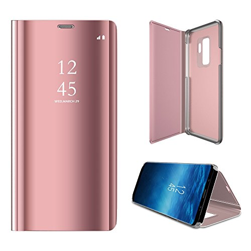 Galaxy S9 Plus Case, Translucent View Mirror Flip Electroplate Stand Case for Samsung Galaxy S9plus (Rose Gold)