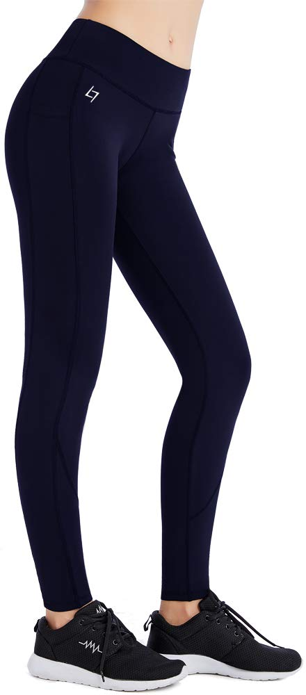 FITTIN Yoga Workout Leggings - Power Flex Pants for Fitness Running Sports Blue Large by FITTIN