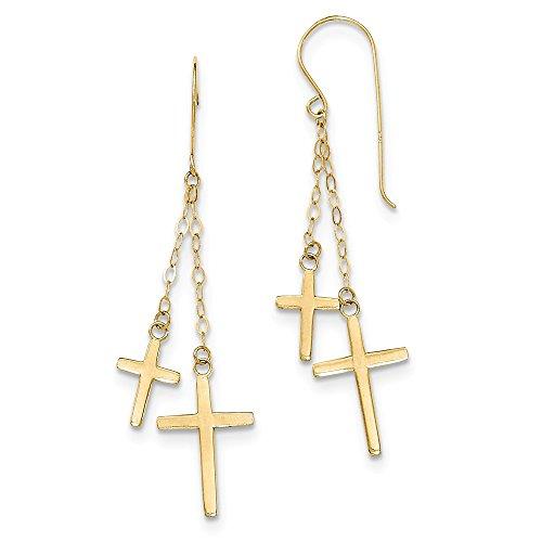 Chain Hook Earrings (14K Yellow Gold Chain Dangle Cross Shepard Hook Earrings)