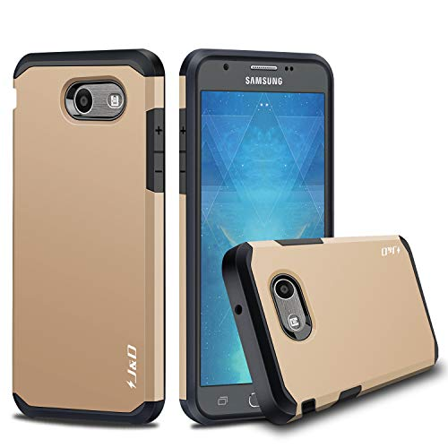 J&D Case Compatible for Galaxy J3 Emerge/Galaxy J3 2017 / Galaxy J3 Prime Case, Heavy Duty [Dual Layer] Hybrid Shock Proof Protective Rugged Bumper Case for Samsung Galaxy J3 Emerge Case - Gold