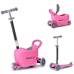 Fascol Multifunción 3 en 1 Patinete de 3 Ruedas Niños Scooter para 1 a 10 Años Niños Max carga 50 kg, Rosa