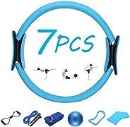 YESURPRISE 7PCS Pilates Ring Set,Yoga Equipment Set for Home Gym Workout,Yoga Circle Pilates Equipment for Wom