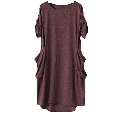 iLUGU Women's Short Sleeve Pockets Empire Waist Pleated Loose Swing Casual Flare Dress
