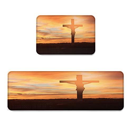 Crucifix Life (Prime Leader 2 Piece Non-Slip Kitchen Mat Runner Rug Set Doormat Big Crucifix at Sunrise New Life Hope Door Mats Rubber Backing Carpet Indoor Floor Mat (15.7