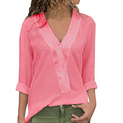 Sunhusing Spring Autumn Womens Fashion V-Neck Chiffon Long Sleeve T-Shirt Casual Work Office Tops ()