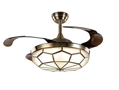 NOXARTE 36 Inch Promote Natural Ventilation Antique Brass Glass Shade Invisible Fan LED Dimmable (Warm/Daylight/Cool White) Chandelier Ceiling Fan with Lights Retractable Fan Fandelier with ()