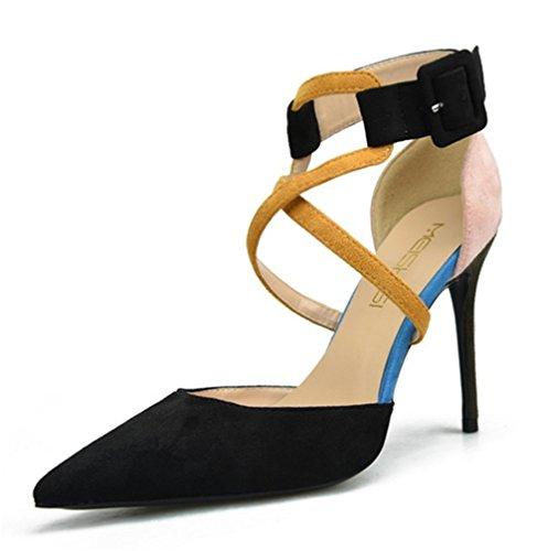 Zapatos Del Sandalia Club Alto Puntiagudo Pie Nocturno Paseo Vestir Black Estilete Fiesta Señoras Dedo Zapatillas Mujer Talones Corte CqpxP
