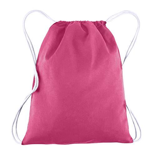 Cotton Budget Tote Bag - BagzDepot 100% COTTON Budget Friendly Sport Drawstring Bag Cinch Packs (Hot Pink)