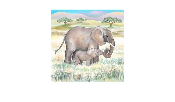 "19/"" African Elephants hand-painted Wall Sculpture Relief Plaque"