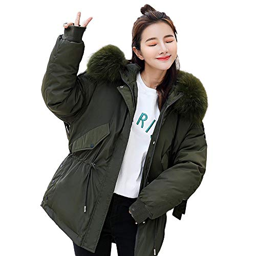 Adult 1/4 Zip Thermal - vermers Womens Winter Warm Outerwear Short Down Coat 2018 Women Parka Hooded Coat Quilted Jacket Outwear(US:18/XL, Army Green)