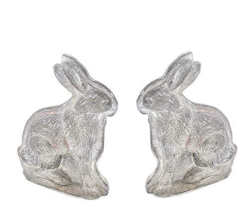 Sullivan Mini Silver Resin Bunny Figurines for Spring/Easter Decor, Set of ()