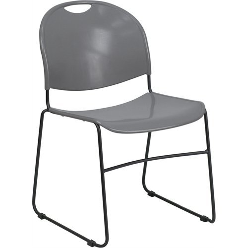 Textured Polypropylene Stacking Chairs - Flash Furniture HERCULES Series 880 lb. Capacity Gray Ultra Compact Stack Chair with Black Frame