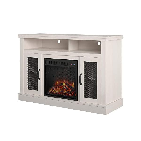 """Ameriwood Home Cresthaven Fireplace 54"""", Ivory Pine TV Stand,"""
