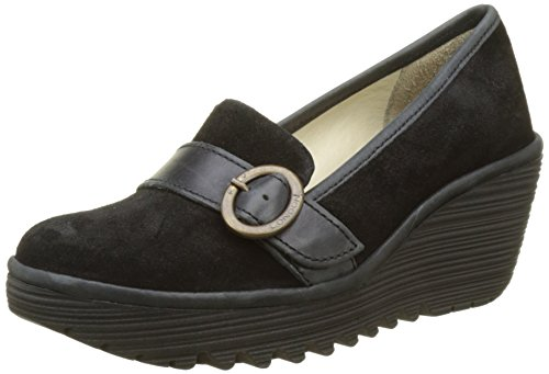 Fly London Womens Yond771fly Mocassino Nero Olio Scamosciato / Tappeto