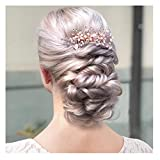 SWEETV Rose Gold Bridal Hair Comb Clip - Rhinestone Headpieces Wedding Hair Accessories For Women, Girl, Bride Larger Image