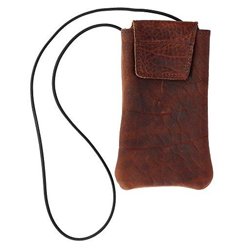 Boston Leather Textured Bison Leather Eyeglass Case with Neck String, Dark Pecan